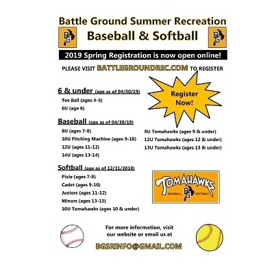 Battle Ground Summer Reacreation Baseball & Softball